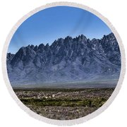 Round Beach Towel featuring the photograph The Organ Mountains by Gina Savage