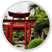 The Oriental Gate To Happiness Round Beach Towel