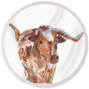 The Original Longhorn Standing Earth Quack Watercolor Painting By Kmcelwaine Round Beach Towel