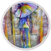The Other Girl In The City Round Beach Towel