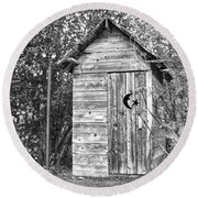 The Outhouse Bw Round Beach Towel