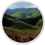 The Outskirts Of San Luis Reservoir, California Round Beach Towel