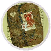 Round Beach Towel featuring the mixed media The Package by P J Lewis