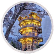 Round Beach Towel featuring the photograph The Pagoda In Spring At Blue Hour by Mark Dodd