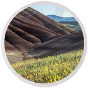 The Painted Hills In Bloom Round Beach Towel