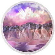 The Painted Sand Rocks Round Beach Towel