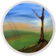The Painted Sky Round Beach Towel by Pat Purdy
