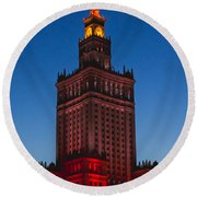 The Palace Of Culture And Science  Round Beach Towel