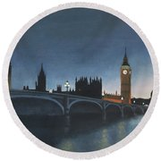 The Palace Of Westminster London Oil On Canvas Round Beach Towel