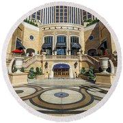 The Palazzo Casino Main Entrance Round Beach Towel
