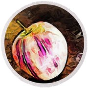 The Pale Pink Apple With The Hot Pink Stripes Round Beach Towel