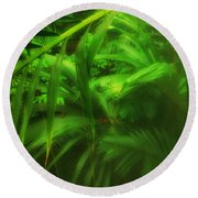 Round Beach Towel featuring the photograph The Palm Forest  by Connie Handscomb