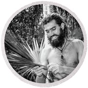 The Palm Frond Weaver Round Beach Towel by Marius Sipa