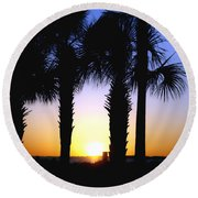 Round Beach Towel featuring the photograph The Palms At Sunset by Debra Forand