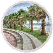 The Palms Of Water Front Park Round Beach Towel