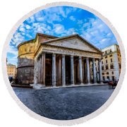 Round Beach Towel featuring the painting The Pantheon Rome by David Dehner