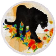 The Panther In The Flowerbed Round Beach Towel