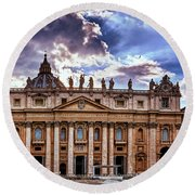 The Papal Basilica Of Saint Peter Round Beach Towel