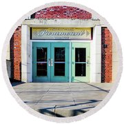 Round Beach Towel featuring the photograph The Paramount Theatre by Colleen Kammerer