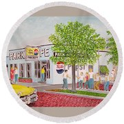 The Park Shoppe Portsmouth Ohio Round Beach Towel by Frank Hunter