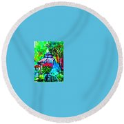 Flowers In The Park Round Beach Towel