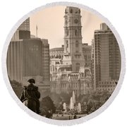 The Parkway In Sepia Round Beach Towel