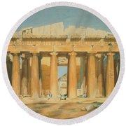 The Parthenon Round Beach Towel by Louis Dupre