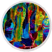The Party Has Just Begun Round Beach Towel
