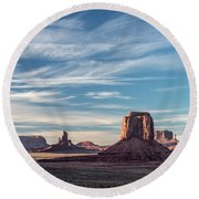 Round Beach Towel featuring the photograph The Past by Jon Glaser