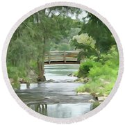 The Pasture's Bridge Round Beach Towel