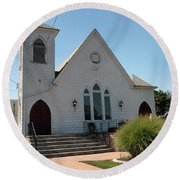 The Patchogue Seventh Day Adventist Church Round Beach Towel
