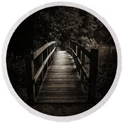 The Path Between Darkness And Light Round Beach Towel