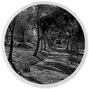 The Path In Abstract Round Beach Towel