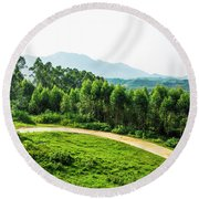 The Path In The Mountain Round Beach Towel