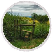 Round Beach Towel featuring the photograph The Path Most Traveled  by Connie Handscomb