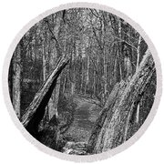 The Path Through The Woods Bandw Round Beach Towel