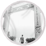 The Path To The Big Buddah Round Beach Towel