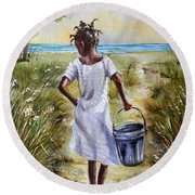 The Path To The Sea Round Beach Towel