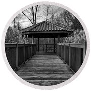 Round Beach Towel featuring the photograph The Pavilion By The River by Kirt Tisdale