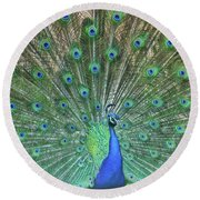 Round Beach Towel featuring the photograph The Peacock Angel by Jamart Photography