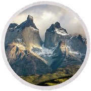 The Peaks At Sunrise Round Beach Towel by Andrew Matwijec