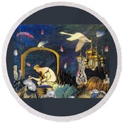 Round Beach Towel featuring the mixed media The Pearl Of Great Price by Gail Kirtz