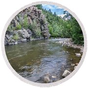 Round Beach Towel featuring the photograph The Pecos River by Margaret Pitcher