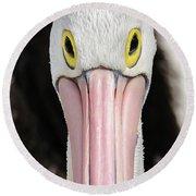 The Pelican Stare Round Beach Towel