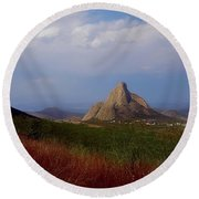 The Pena De Bernal Round Beach Towel