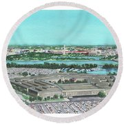 Round Beach Towel featuring the painting The Pentagon by Betsy Hackett