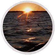 Round Beach Towel featuring the photograph The Perfect Ending - After A Good Day Of Fishing by Angie Rea