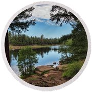 Round Beach Towel featuring the photograph The Perfect Fishing Spot  by Saija Lehtonen