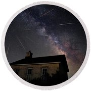 The Perseid Meteor Shower At Lower Fox Creek School  Round Beach Towel