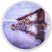 A Stormy Peter Iredale Round Beach Towel